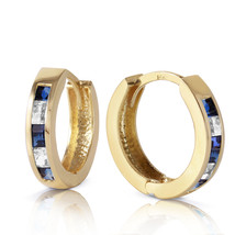 1.26 Carat 14K Solid Gold Hoop Earrings Natural Sapphire White To - $229.58