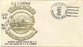 1st Day Cover Navy Day October 1945 - $7.00