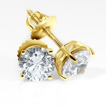 0.95CT Round LabCreated Diamond 14K Yellow Gold Screwback Earrings - $43.92