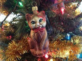Old German Christmas Handmade Glass Brown Cat Ornament Tag Attached - $24.75