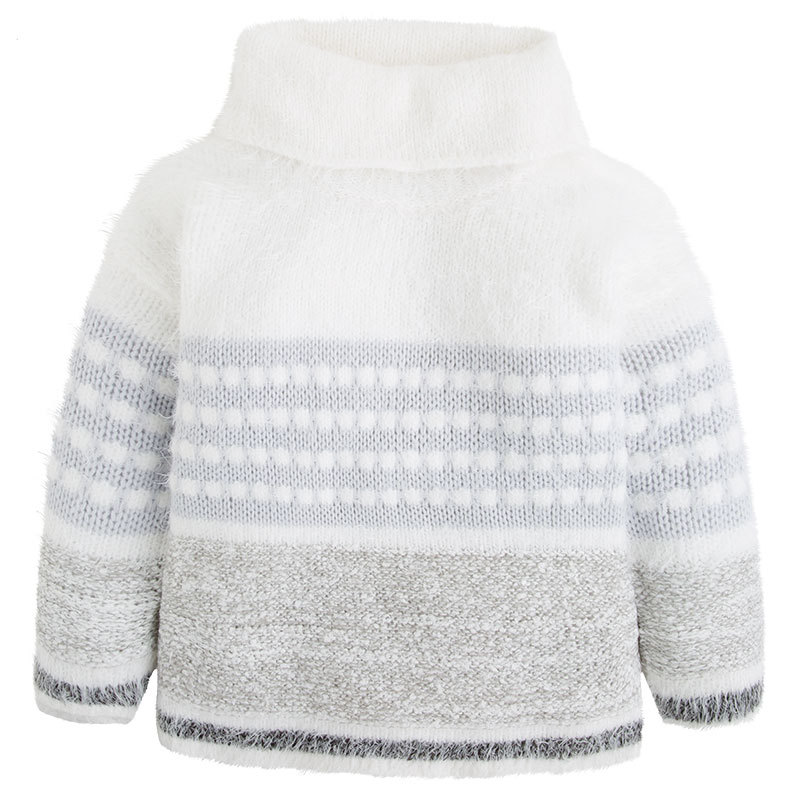 Mayoral Big Girl Tween Cowl Neck Colorblock Stripe Fuzzy Knit Sweater