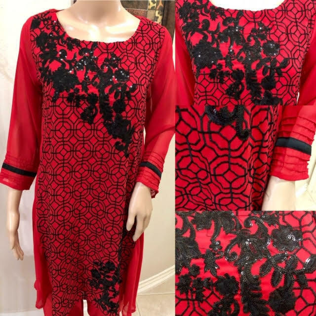 Primary image for Red Pakistani Georgette Kurta Sequins, Thread work, Medium
