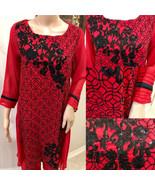 Red Pakistani Georgette Kurta Sequins, Thread work, Medium - $64.35