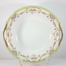 "Antique Hand-Painted Nippon Serving Bowl 9.25"" White Green Gold Pink Floral - $43.55"