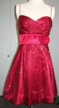 NEW HAILEY LOGAN BY ADRIANNA PAPELL Red Sequin Dress Junior Women's 7/8 - $14.99