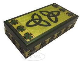 Celtic Shamrock Wooden Box Polish Handmade Linden Wood Keepsake Jewelry Box - €24,04 EUR