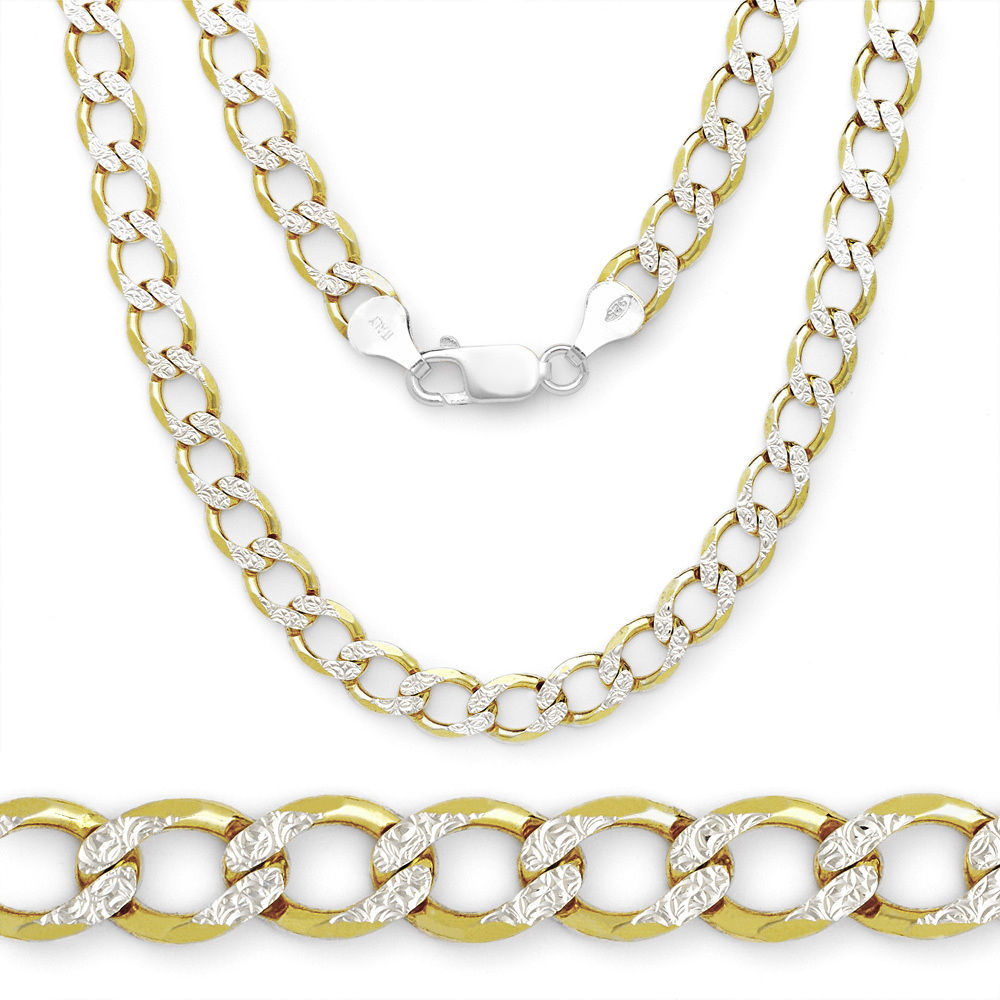4.3mm Solid 925 Sterling Silver 14k Yellow Gold Plated Curb Chain Necklace Italy