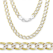 4.3mm Solid 925 Sterling Silver 14k Yellow Gold Plated Curb Chain Neckla... - $52.52+