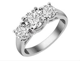 5.00CT Forever One Moissanite 4 Prong 3-Stone Ring 18K White Gold - $2,309.85