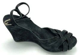 UGG Australia VIOLET Black Suede Strappy Wedge Shoe 8M Womens Heel Sandal - ₹2,248.13 INR