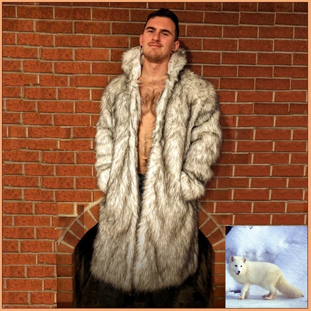 Mens Luxury Long Sleeve Brown Tipped Ivory Hair Artic Fox Faux Fur Long Coat