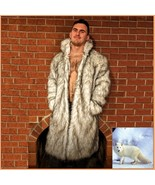 Mens Luxury Long Sleeve Dark Tipped Ivory Hair Artic Fox Faux Fur Long C... - £199.03 GBP