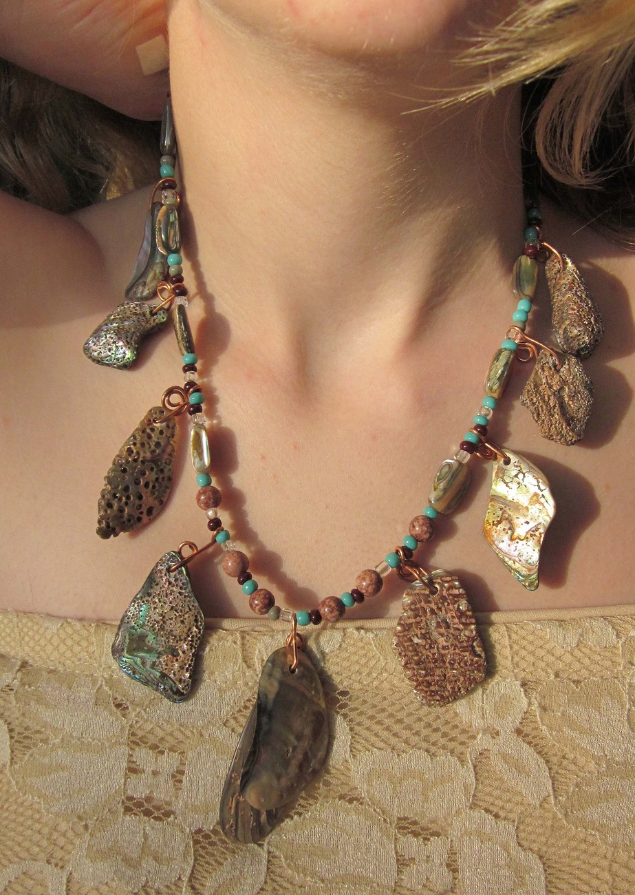Abalone beaded necklace  oringinal art to wear by Michael Tarillion
