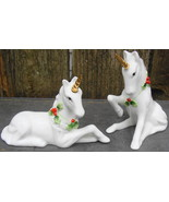 Vintage Enesco White Unicorn Gold Horn Holly Around Neck Christmas Figur... - $34.00