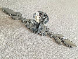 Large Glass Dresser Knob Crystal Drawer Pull Cabinet Door Knob Back Plate - $9.50