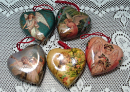 Set of Six Vintage Decoupage Heart Angel Christmas Ornaments - $15.00