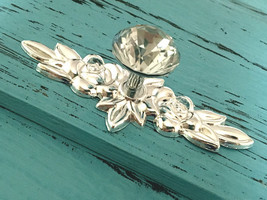 Glass Dresser Knob Crystal Drawer Pull Cabinet Door Knob Back Plate Clear Silver - $6.50