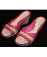 Crocs Pink Butter Yellow Slip On Crocs Shoes Heels 10 Womens Wedge - $21.75