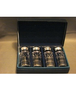 Two Sets Cobalt Glass Silver Filigree Godinger Shakers Boxed - $20.00