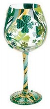 Lolita Irish Dream Super Bling Wine Glass Retired Rare St Patricks Lucky... - $56.09