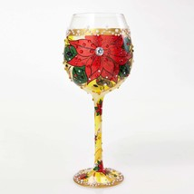 Lolita Poinsettia Super Bling Wine Glass Christ... - $41.13