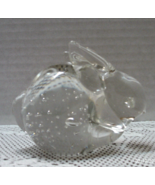 Vintage Leonard Silver MFG. Art Glass Controlled Bubble Rabbit Paper Weight - $10.95