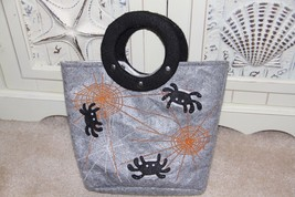Wool felt Halloween purse – applique spiders and embroidered webs - $12.99