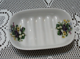 Vintage Liette International Porcelain Wild Flowers Ridged Soap Dish - $10.00