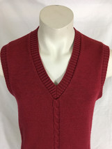 London Fog Red Vest Cable Knit Men's Medium Made in USA image 2