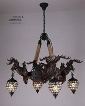 Vintage Stag Head Crystal Chandelier Deer Ceiling Lamp 4 Light Lighting Fixture - $663.69