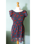 Navy dress with red bows, Retro style, pin up, sweet, romantic dress - $25.00