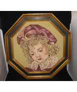 Vintage Framed Needlepoint Young Girl - $45.00