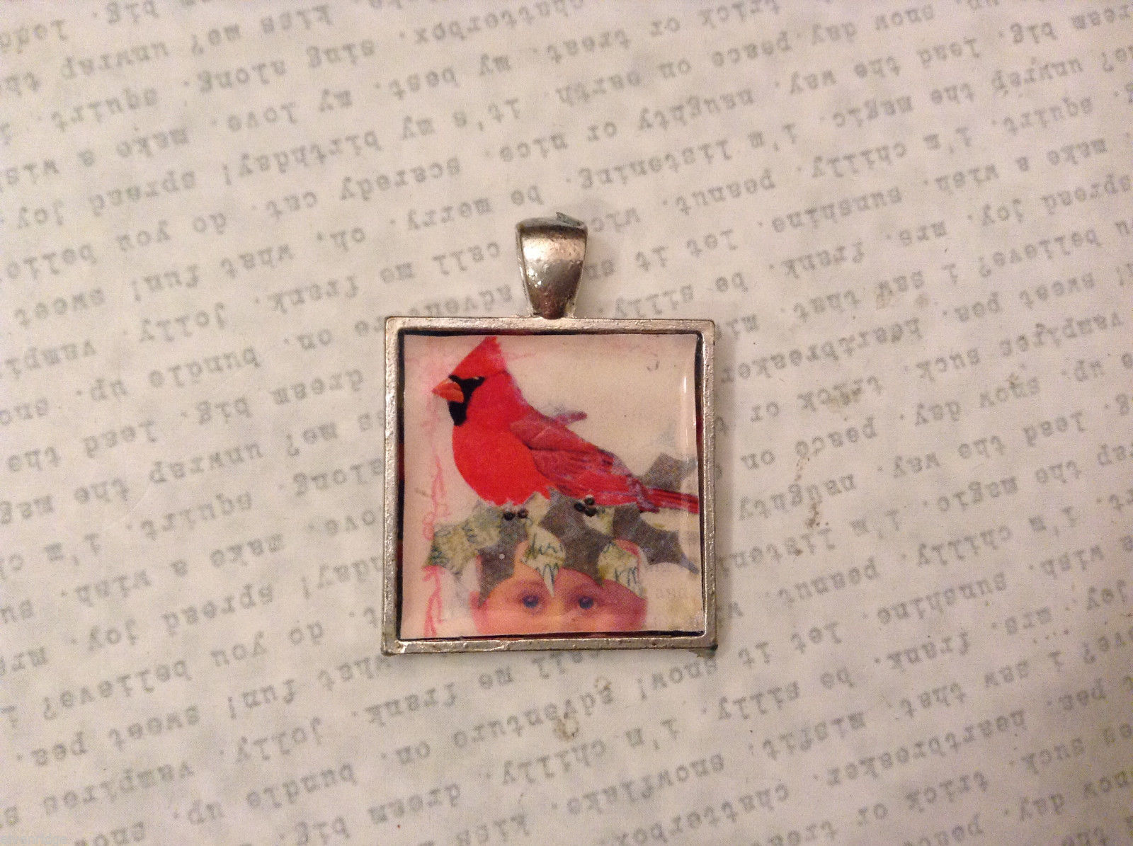 Red Cardinal Bird Square charm tag pendant in metal silver tone frame