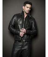 New Men's-Leather-Jacket-Slim-fit-Motorcycle-Real-lambskin Leather jacket-104 - $130.00