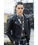 NEW-Men's-Leather-Jacket-Slim-fit-Motorcycle-Real-lambskin Leather jacket-124 - $130.00