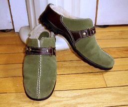 COLE HAAN Meribel Ladies 6B - Forest Green Shearling Lined Clog Mules Sh... - $29.70