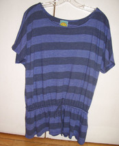 C&C California Blue Striped Oversized Tunic Top Drawstring Elastic Waist XS - $17.08