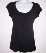 Michael Stars Black Supima Cotton Scoop Gathered Neckline Cap Sleeve OFS... - $20.54