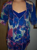 DVF Diane Von Furstenberg 2 Pc Gitane Blue Multi Silk Peasant Blouse & C... - $47.47