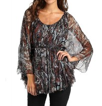 Catherine Malandrino $375 Silk Floral Black Multi Print Blouse Boho Top ... - $74.24