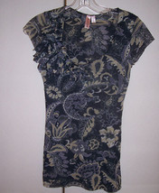 SWEET PEA Anthropologie Black Gray Paisley Flower Applique Top Tunic Tank S - $24.70