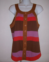 Marc by Marc Jacobs Brown Red Purple Stripe Colorblock Cotton Top Tank M... - $24.74