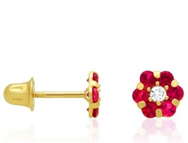 0.71 CTW 14k Yellow Gold Diamond And Ruby Flower Screwback Stud Earrings - $34.46