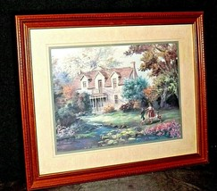 Oil Painting of Country House with two girls and dog in the yard AA20-2353 Vinta