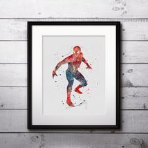 Superhero Spiderman Art Print Printable Watercolor Art poster Decor pain... - $1.75