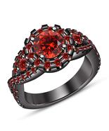 Red Garnet Womens Engagement Ring 14k Black Gold Finish 925 Sterling Rea... - £54.92 GBP