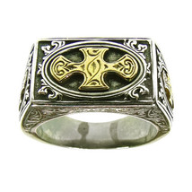 Gerochristo 2730 -  Solid Gold & Silver Medieval Crosses Ring   / size 7 - $360.00