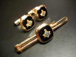 Krementz Vintage Masonic Cuff Links and Tie Bar Golden Color with Black Accents  - $24.99