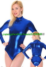 NEW! SEXY BLUE SHINY METALLIC SHORT BODY SUIT LONG SLEEVES CATSUIT COSTU... - $32.99