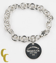 "Tiffany & Co. Plata Ley Redondo ""Retorno a ""Etiqueta Pulsera Ret = - $198.00"